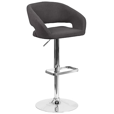 Contemporary Black Fabric Adjustable Height Barstool with Chrome Base (CH-122070-BKFAB-GG)