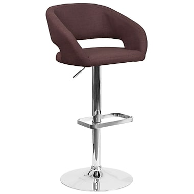 Contemporary Brown Fabric Adjustable Height Barstool with Chrome Base (CH-122070-BRNFAB-GG)
