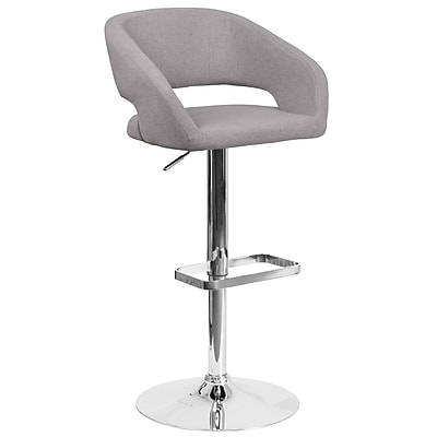 Contemporary Gray Fabric Adjustable Height Barstool with Chrome Base (CH-122070-GYFAB-GG)