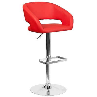 Contemporary Red Vinyl Adjustable Height Barstool with Chrome Base (CH-122070-RED-GG)