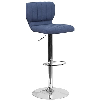 Contemporary Blue Fabric Adjustable Height Barstool with Chrome Base (CH-132330-BLFAB-GG)