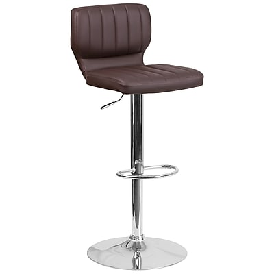 Contemporary Brown Vinyl Adjustable Height Barstool with Chrome Base (CH-132330-BRN-GG)