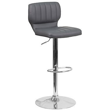Contemporary Grey Vinyl Adjustable Height Barstool with Chrome Base (CH-132330-GY-GG)
