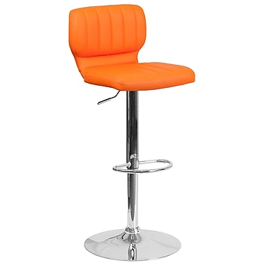 Contemporary Orange Vinyl Adjustable Height Barstool with Chrome Base (CH-132330-ORG-GG)