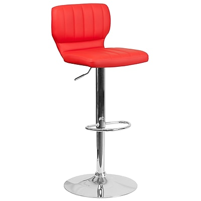 Contemporary Red Vinyl Adjustable Height Barstool with Chrome Base (CH-132330-RED-GG)