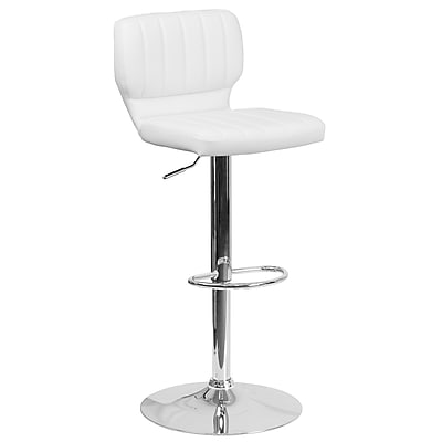 Contemporary White Vinyl Adjustable Height Barstool with Chrome Base (CH-132330-WH-GG)