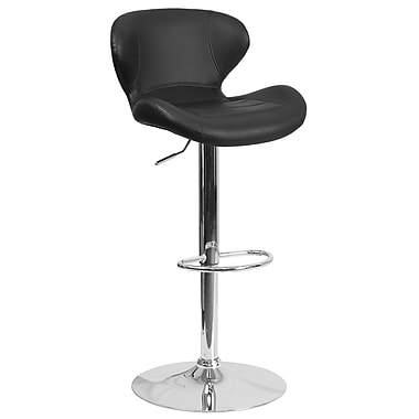 Contemporary Black Vinyl Adjustable Height Barstool with Chrome Base (CH-321-BK-GG)