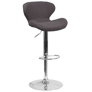Contemporary Black Fabric Adjustable Height Barstool with Chrome Base (CH-321-BKFAB-GG)