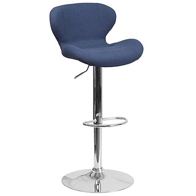 Contemporary Blue Fabric Adjustable Height Barstool with Chrome Base (CH-321-BLFAB-GG)