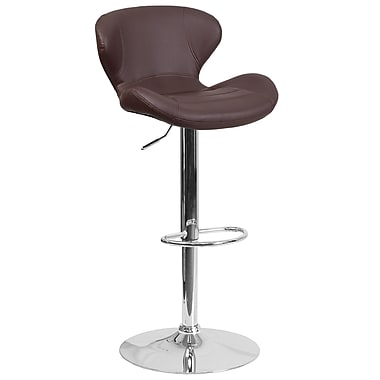 Contemporary Brown Vinyl Adjustable Height Barstool with Chrome Base (CH-321-BRN-GG)