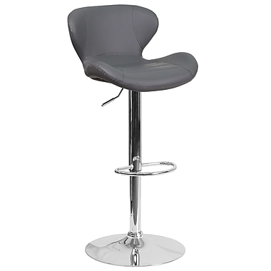 Contemporary Grey Vinyl Adjustable Height Barstool with Chrome Base (CH-321-GY-GG)