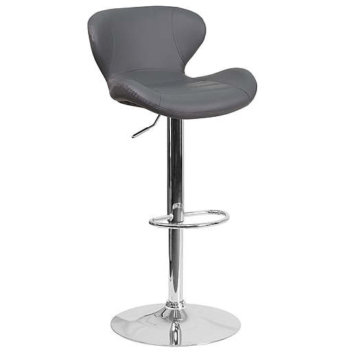 Contemporary Gray Vinyl Adjustable Height Barstool with Chrome Base (CH-321-GY-GG)