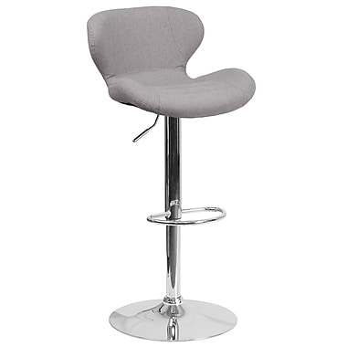 Contemporary Grey Fabric Adjustable Height Barstool with Chrome Base (CH-321-GYFAB-GG)