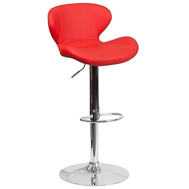 Contemporary Red Vinyl Adjustable Height Barstool with Chrome Base (CH-321-RED-GG)