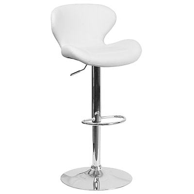 Contemporary White Vinyl Adjustable Height Barstool with Chrome Base (CH-321-WH-GG)