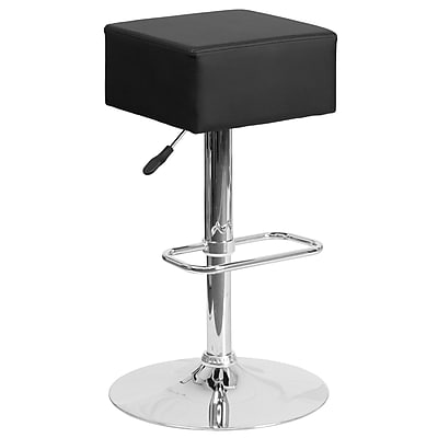 Contemporary Black Vinyl Adjustable Height Barstool with Chrome Base (CH-82058-4-BK-GG)