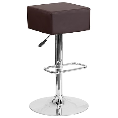 Contemporary Brown Vinyl Adjustable Height Barstool with Chrome Base (CH-82058-4-BRN-GG)