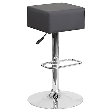 Contemporary Grey Vinyl Adjustable Height Barstool with Chrome Base (CH-82058-4-GY-GG)