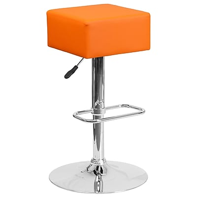 Contemporary Orange Vinyl Adjustable Height Barstool with Chrome Base (CH-82058-4-OR-GG)
