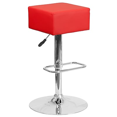 Contemporary Red Vinyl Adjustable Height Barstool with Chrome Base (CH-82058-4-RED-GG)