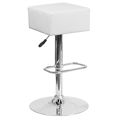 Contemporary White Vinyl Adjustable Height Barstool with Chrome Base (CH-82058-4-WH-GG)