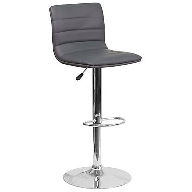 Contemporary Grey Vinyl Adjustable Height Barstool with Chrome Base (CH-92023-1-GY-GG)
