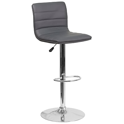 Contemporary Gray Vinyl Adjustable Height Barstool with Chrome Base (CH-92023-1-GY-GG)