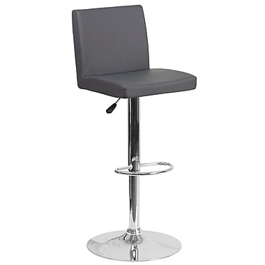 Contemporary Grey Vinyl Adjustable Height Barstool with Chrome Base (CH-92066-GY-GG)