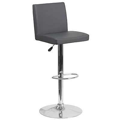Contemporary Gray Vinyl Adjustable Height Barstool with Chrome Base (CH-92066-GY-GG)