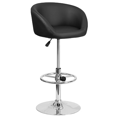 Contemporary Black Vinyl Adjustable Height Barstool with Chrome Base (CH-TC3-1066L-BK-GG)