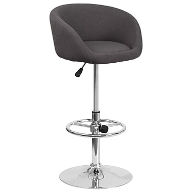 Contemporary Black Fabric Adjustable Height Barstool with Chrome Base (CH-TC3-1066L-BKFAB-GG)