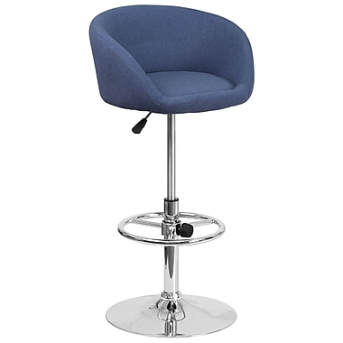 Contemporary Blue Fabric Adjustable Height Barstool with Chrome Base (CH-TC3-1066L-BLFAB-GG)