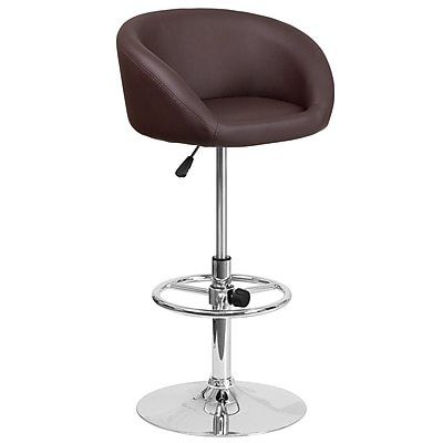 Contemporary Brown Vinyl Adjustable Height Barstool with Chrome Base (CH-TC3-1066L-BRN-GG)