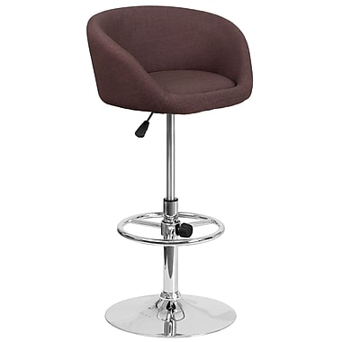 Contemporary Brown Fabric Adjustable Height Barstool with Chrome Base (CH-TC3-1066L-BRNFAB-GG)