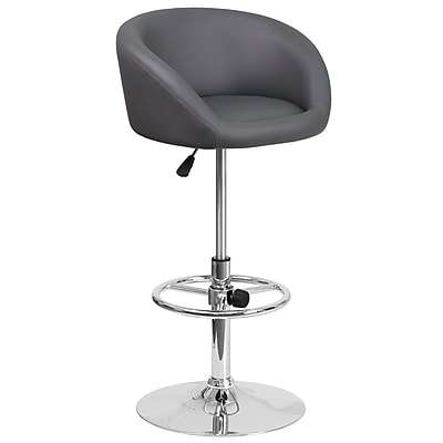Contemporary Gray Vinyl Adjustable Height Barstool with Chrome Base (CH-TC3-1066L-GY-GG)