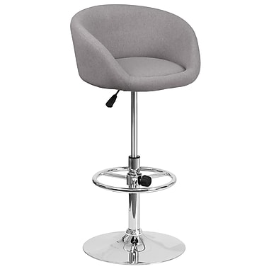 Contemporary Grey Fabric Adjustable Height Barstool with Chrome Base (CH-TC3-1066L-GYFAB-GG)