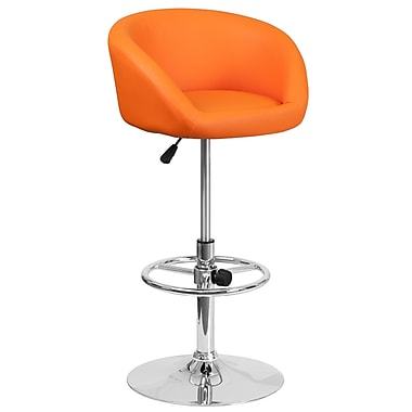 Contemporary Orange Vinyl Adjustable Height Barstool with Chrome Base (CH-TC3-1066L-ORG-GG)