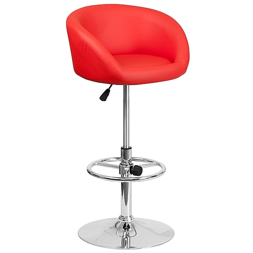 Contemporary Red Vinyl Adjustable Height Barstool with Chrome Base (CH-TC3-1066L-RED-GG)