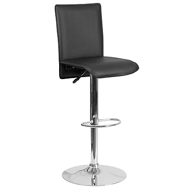 Contemporary Black Vinyl Adjustable Height Barstool with Chrome Base (CH-TC3-1206-BK-GG)