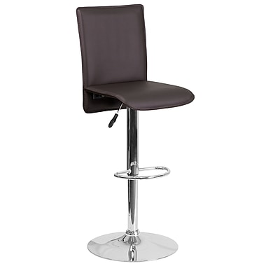 Contemporary Brown Vinyl Adjustable Height Barstool with Chrome Base (CH-TC3-1206-BRN-GG)