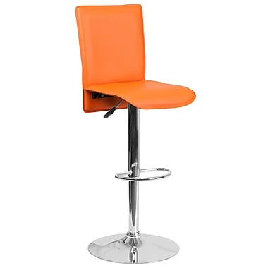 Tabouret de bar contemporain à hauteur ajustable en vinyle orange avec base chromée (CH-TC3-1206-OR-GG)