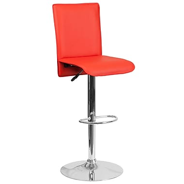 Contemporary Red Vinyl Adjustable Height Barstool with Chrome Base (CH-TC3-1206-RED-GG)