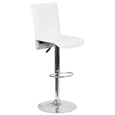 Contemporary White Vinyl Adjustable Height Barstool with Chrome Base (CH-TC3-1206-WH-GG)