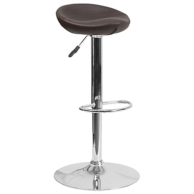 Contemporary Brown Vinyl Adjustable Height Barstool with Chrome Base (DS-8001-BRN-GG)