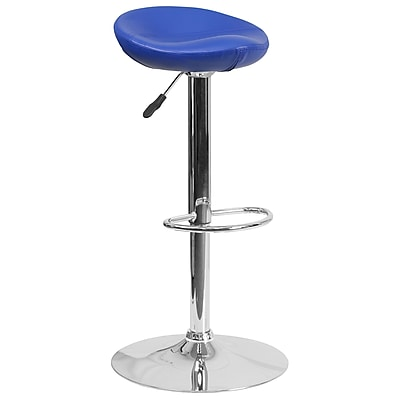 Contemporary Blue Vinyl Adjustable Height Barstool with Chrome Base (DS-8001-BL-GG)