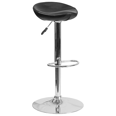 Contemporary Black Vinyl Adjustable Height Barstool with Chrome Base (DS-8001-BK-GG)
