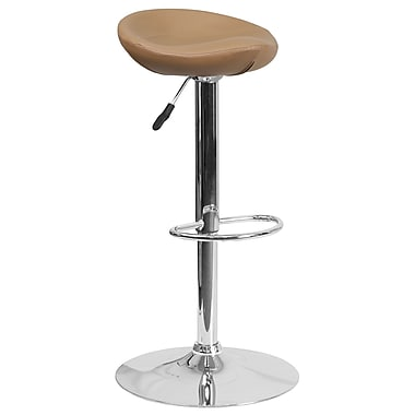 Contemporary Cappuccino Vinyl Adjustable Height Barstool with Chrome Base (DS-8001-CAP-GG)