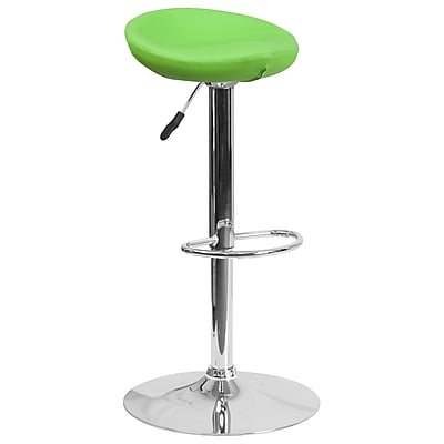 Contemporary Green Vinyl Adjustable Height Barstool with Chrome Base (DS-8001-GN-GG)