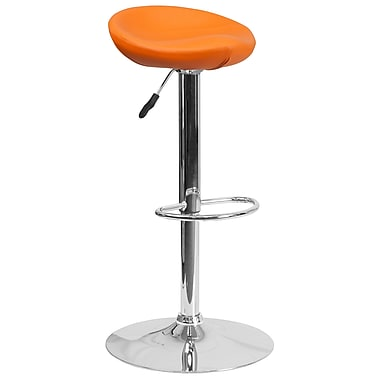 Contemporary Orange Vinyl Adjustable Height Barstool with Chrome Base (DS-8001-OR-GG)