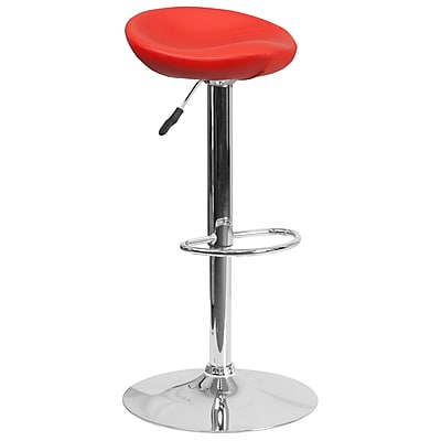 Contemporary Red Vinyl Adjustable Height Barstool with Chrome Base (DS-8001-RED-GG)